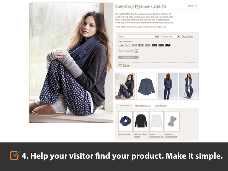 Help your visitor find your product. Make it simple.
